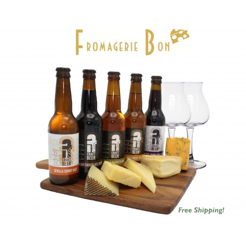 Beer & Cheese pairing experience with glass (10x33cl) - Free shipping
